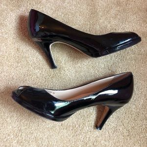 Cole Haan Open Toe Pump - Black Patent Leather